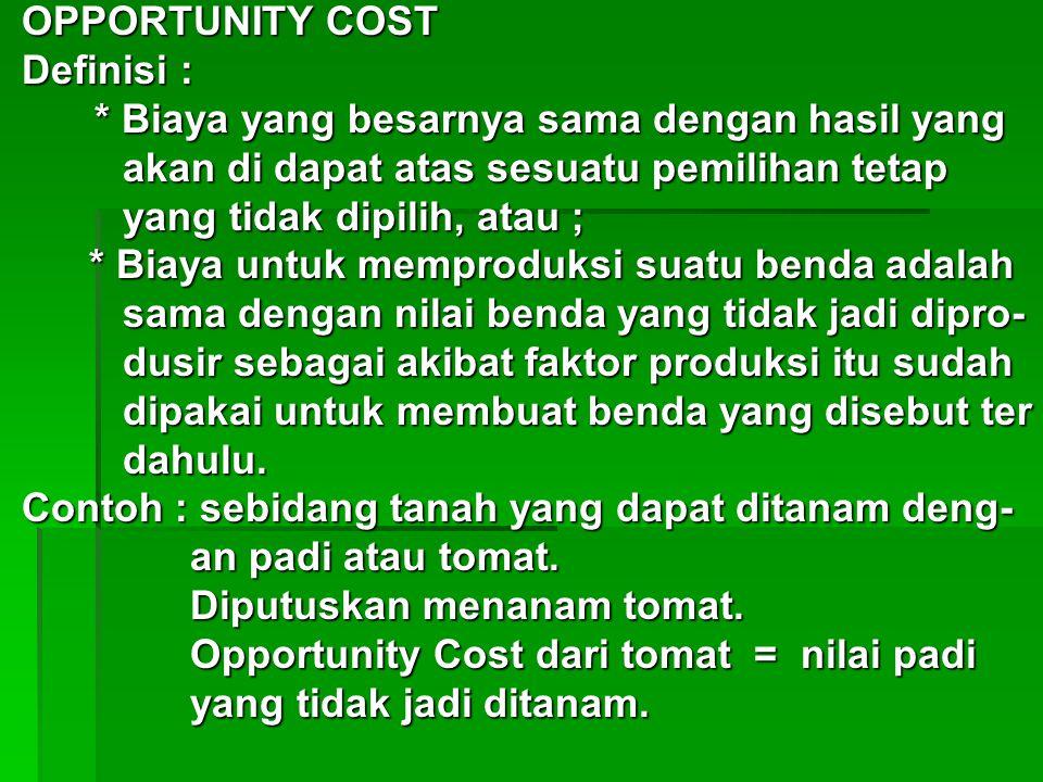 OPPORTUNITY COST Definisi : * Biaya yang besarnya sama dengan hasil yang. akan di dapat atas sesuatu pemilihan tetap.