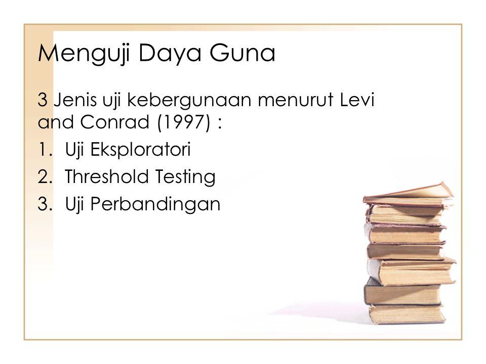 Menguji Daya Guna 3 Jenis uji kebergunaan menurut Levi and Conrad (1997) : Uji Eksploratori. Threshold Testing.