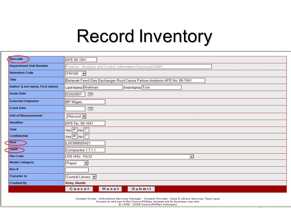 Record Inventory