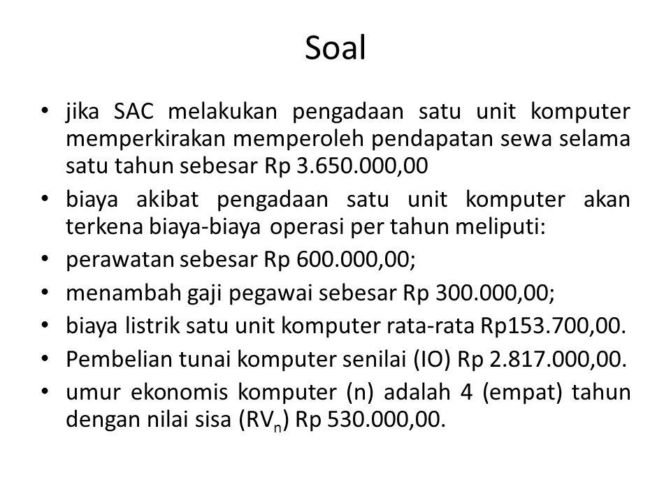 Soal jika SAC melakukan pengadaan satu unit komputer memperkirakan memperoleh pendapatan sewa selama satu tahun sebesar Rp 3.650.000,00.