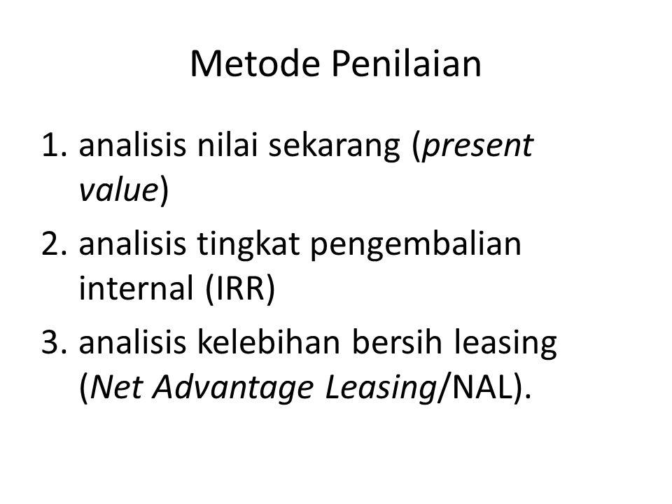 Metode Penilaian analisis nilai sekarang (present value)
