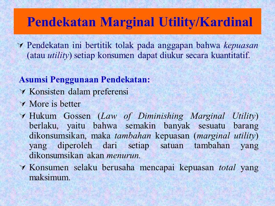 Pendekatan Marginal Utility/Kardinal