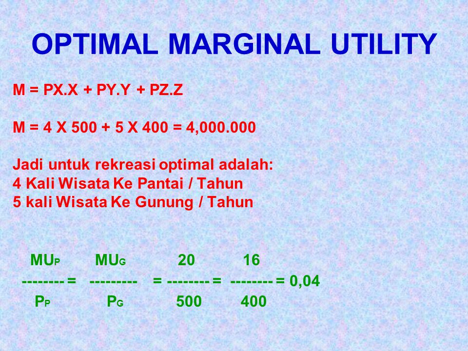 OPTIMAL MARGINAL UTILITY
