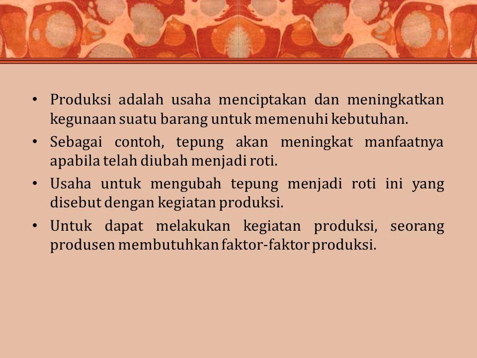 Produksi adalah usaha menciptakan dan meningkatkan kegunaan suatu barang untuk memenuhi kebutuhan.