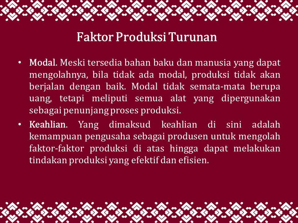 Faktor Produksi Turunan
