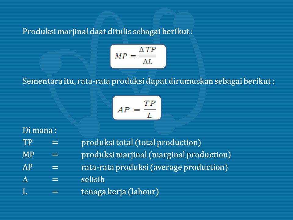 Produksi marjinal daat ditulis sebagai berikut : Sementara itu, rata-rata produksi dapat dirumuskan sebagai berikut : Di mana : TP = produksi total (total production) MP = produksi marjinal (marginal production) AP = rata-rata produksi (average production)  = selisih L = tenaga kerja (labour)