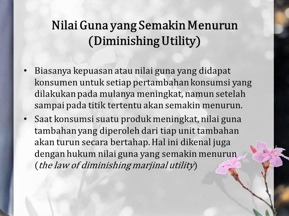 Nilai Guna yang Semakin Menurun (Diminishing Utility)