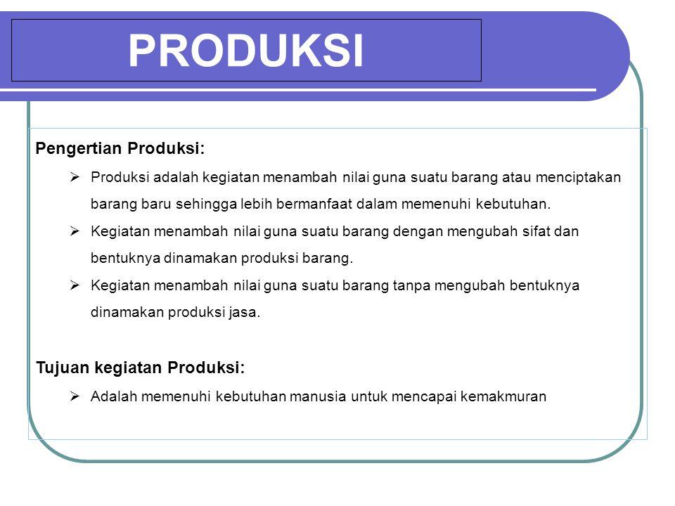 PRODUKSI Pengertian Produksi: Tujuan kegiatan Produksi:
