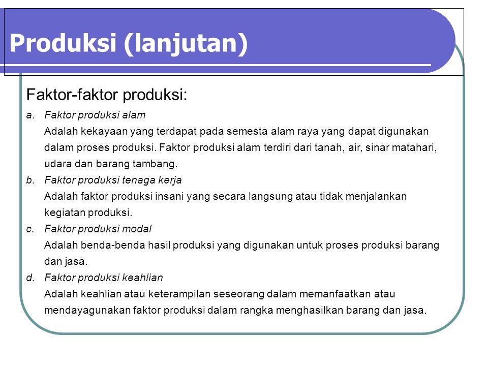 Produksi (lanjutan) Faktor-faktor produksi: Faktor produksi alam