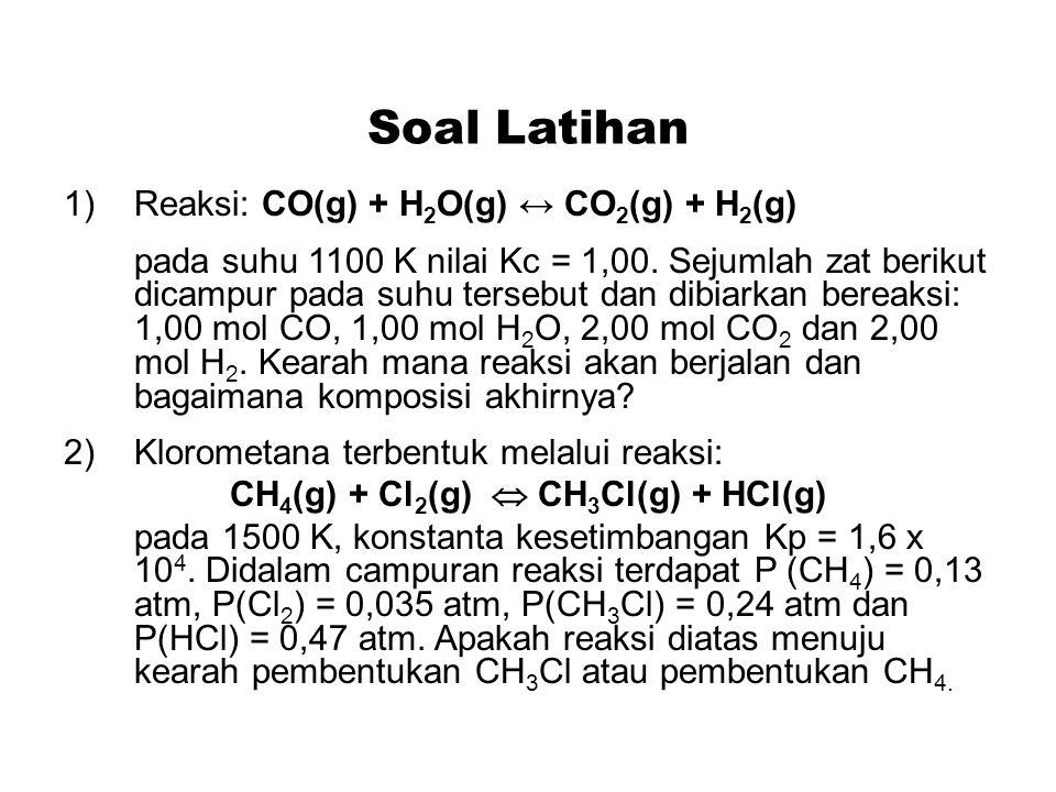 CH4(g) + Cl2(g)  CH3Cl(g) + HCl(g)
