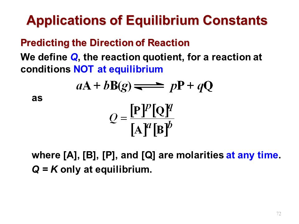 Applications of Equilibrium Constants