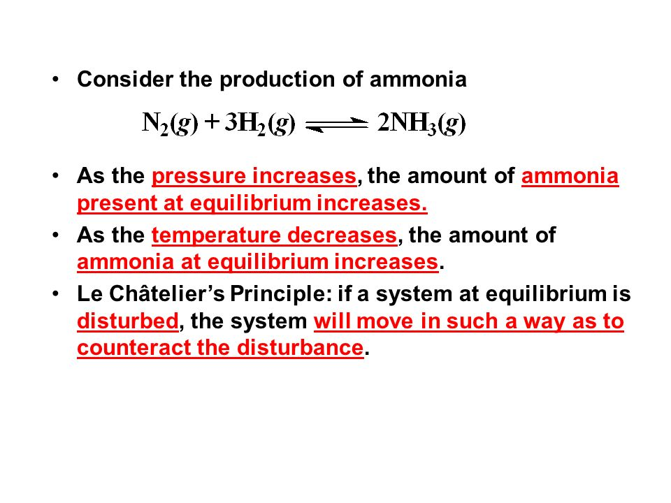 Consider the production of ammonia