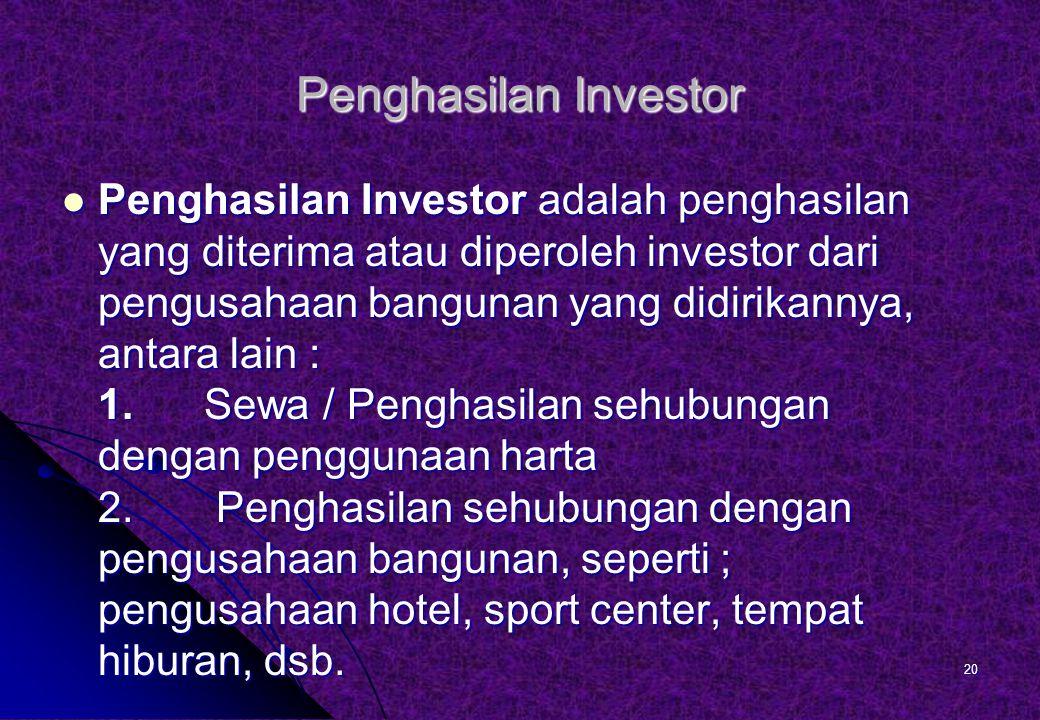 Penghasilan Investor