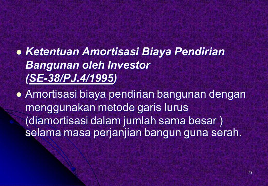 Ketentuan Amortisasi Biaya Pendirian Bangunan oleh Investor (SE-38/PJ