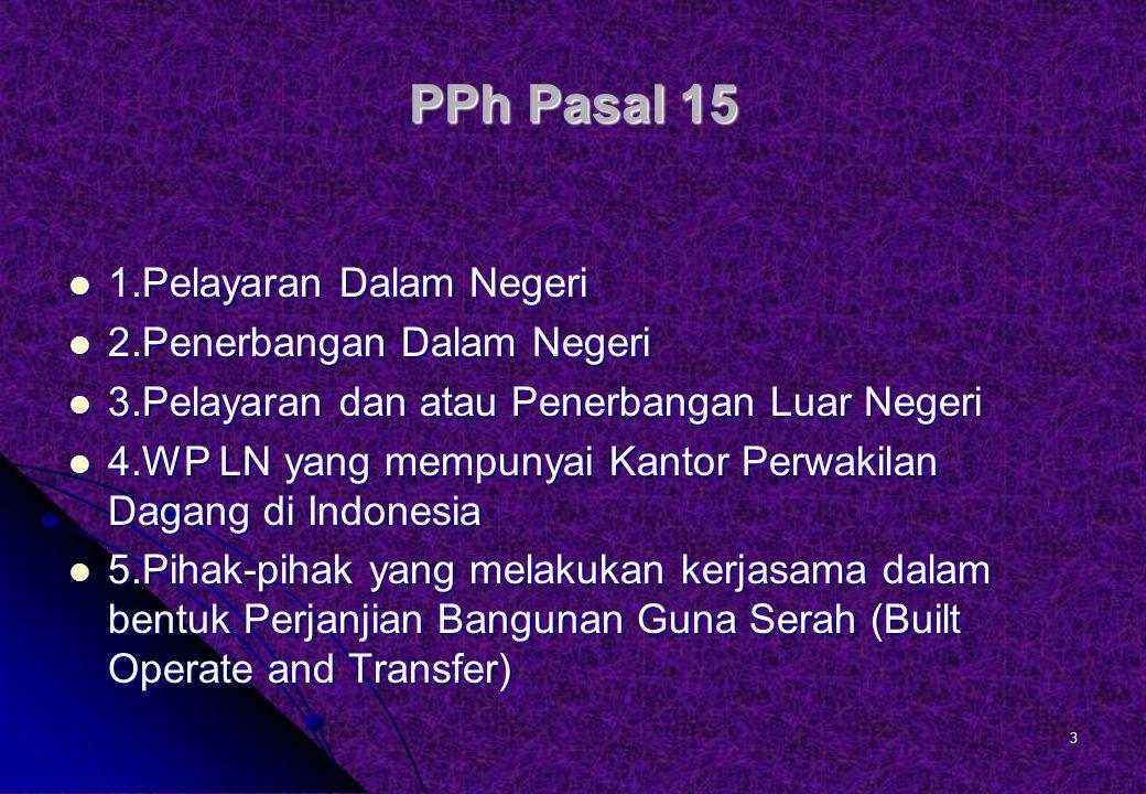 PPh Pasal 15 1.Pelayaran Dalam Negeri 2.Penerbangan Dalam Negeri