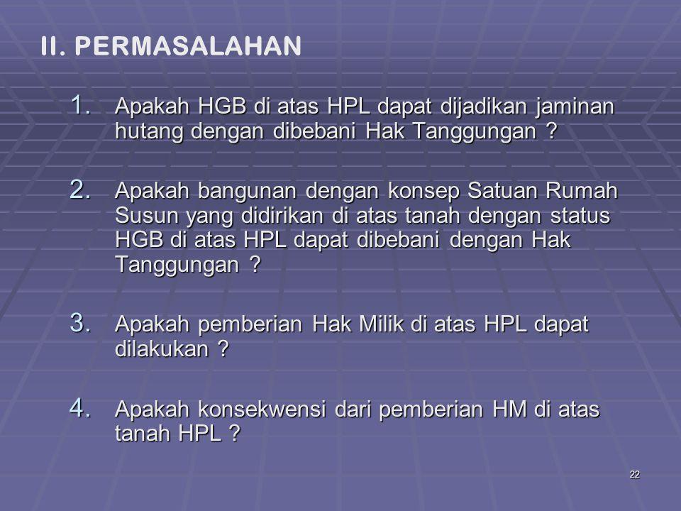 II. PERMASALAHAN Apakah HGB di atas HPL dapat dijadikan jaminan hutang dengan dibebani Hak Tanggungan