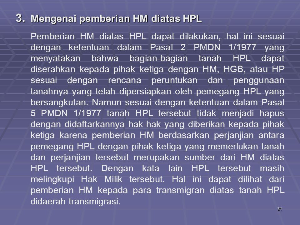 Mengenai pemberian HM diatas HPL