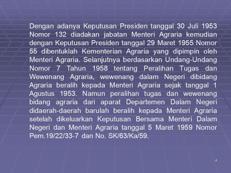 Dengan adanya Keputusan Presiden tanggal 30 Juli 1953 Nomor 132 diadakan jabatan Menteri Agraria kemudian dengan Keputusan Presiden tanggal 29 Maret 1955 Nomor 55 dibentuklah Kementerian Agraria yang dipimpin oleh Menteri Agraria.
