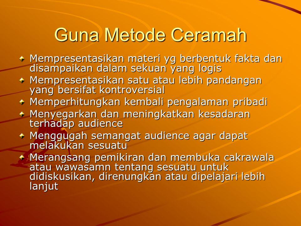 Guna Metode Ceramah Mempresentasikan materi yg berbentuk fakta dan disampaikan dalam sekuan yang logis.