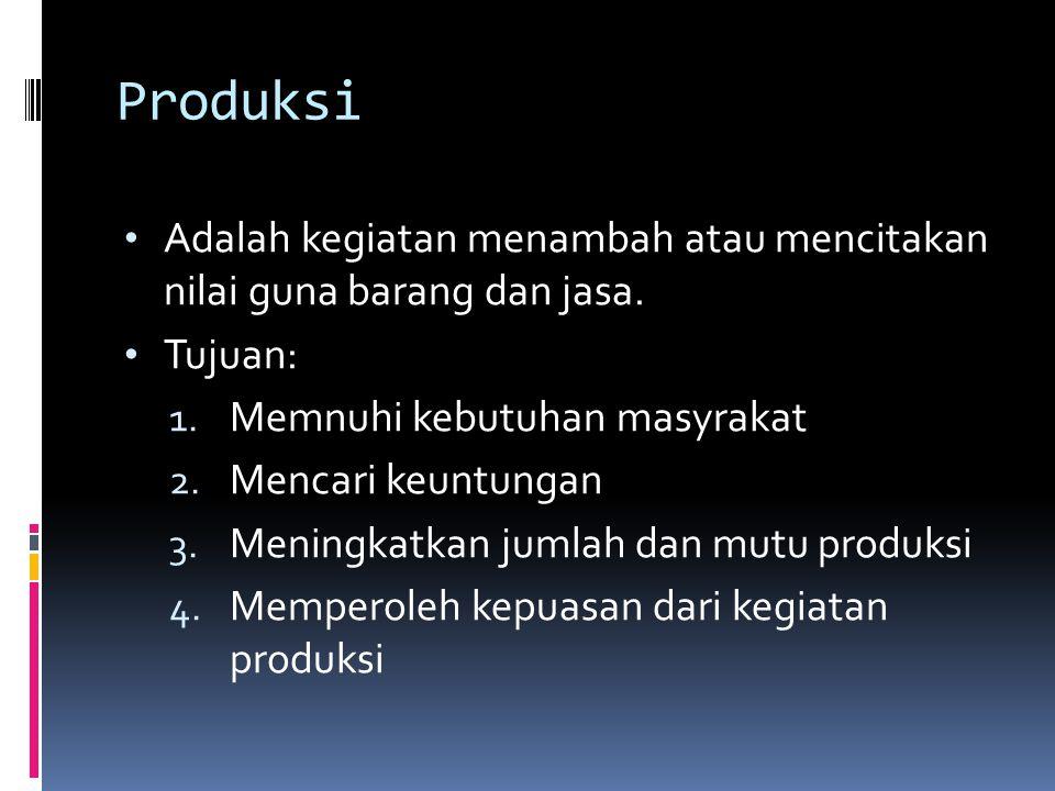 Produksi Adalah kegiatan menambah atau mencitakan nilai guna barang dan jasa. Tujuan: Memnuhi kebutuhan masyrakat.
