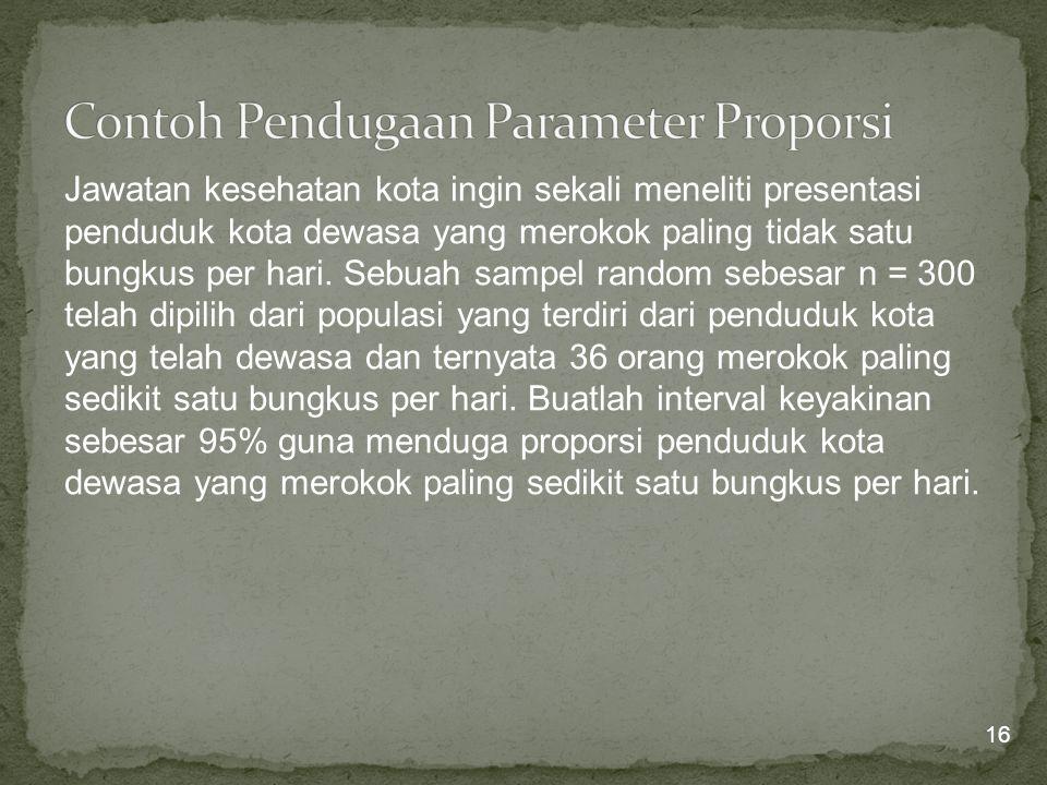 Contoh Pendugaan Parameter Proporsi