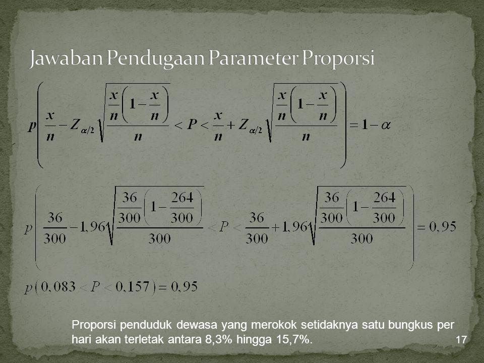 Jawaban Pendugaan Parameter Proporsi