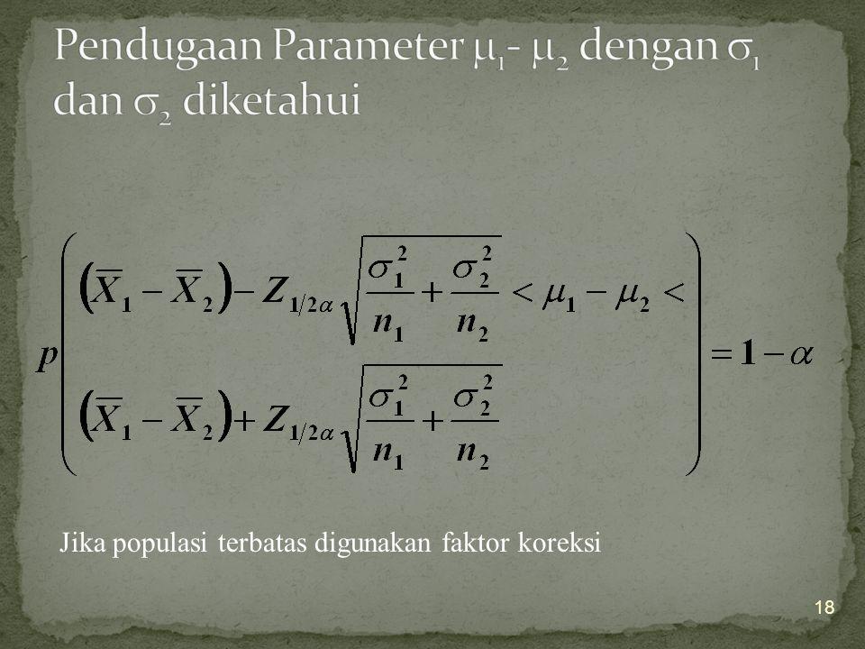 Pendugaan Parameter 1- 2 dengan 1 dan 2 diketahui