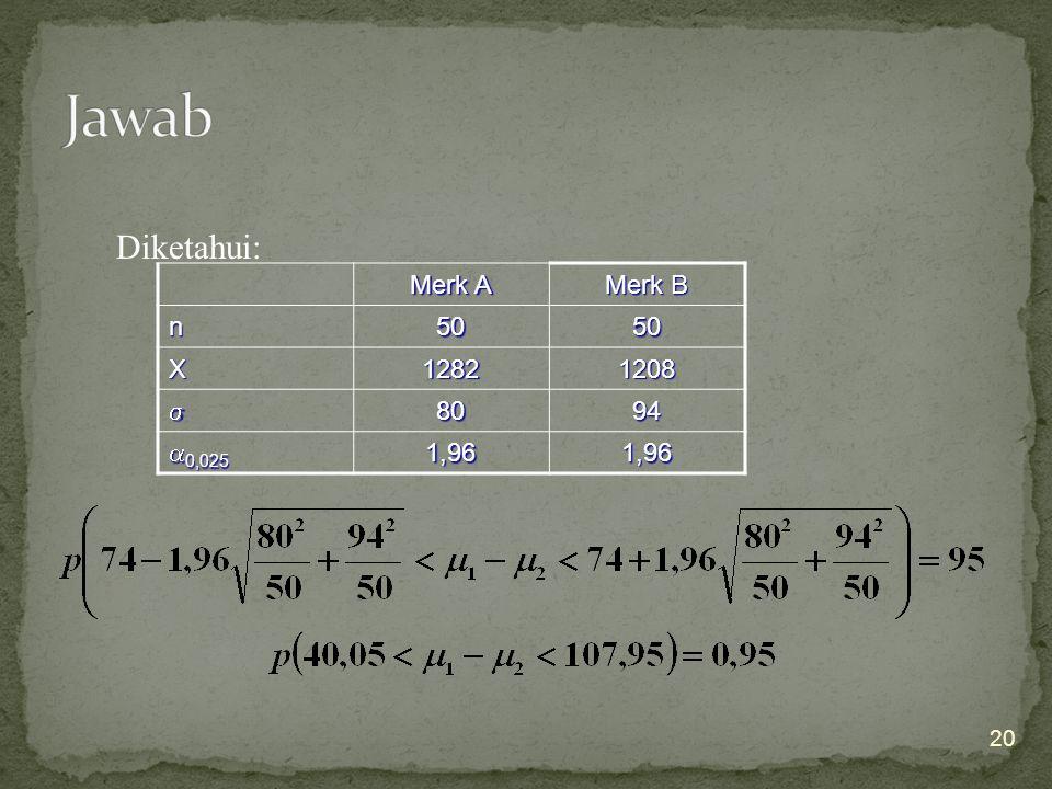 Jawab Diketahui: Merk A Merk B n 50 X 1282 1208  80 94 0,025 1,96