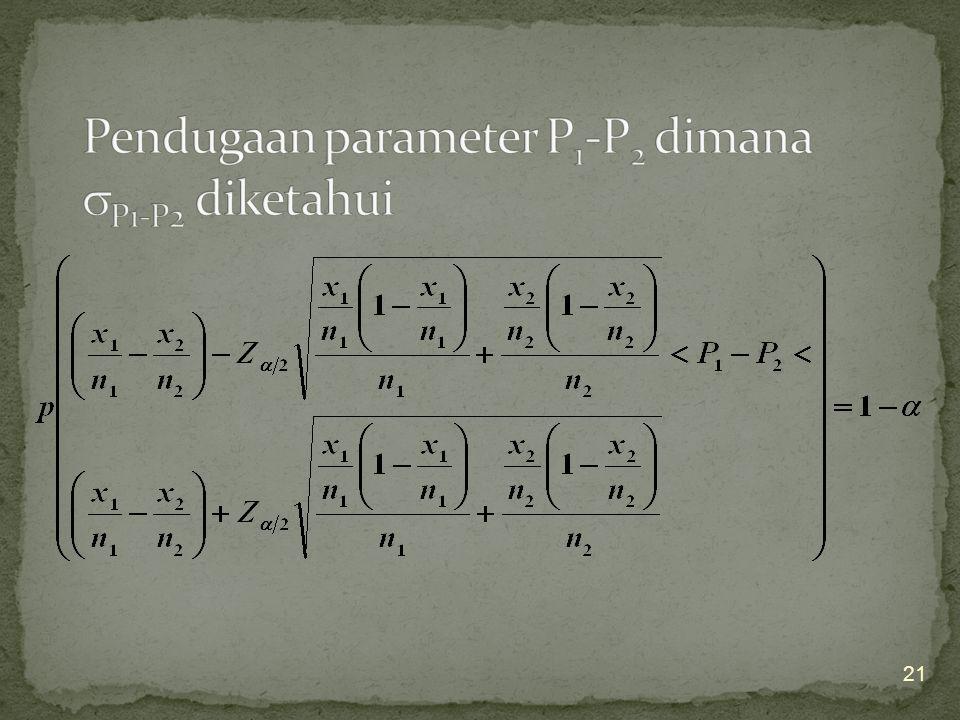 Pendugaan parameter P1-P2 dimana P1-P2 diketahui