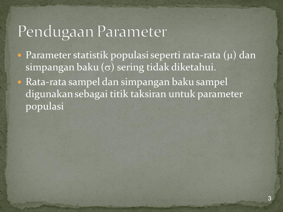 Pendugaan Parameter Parameter statistik populasi seperti rata-rata () dan simpangan baku () sering tidak diketahui.