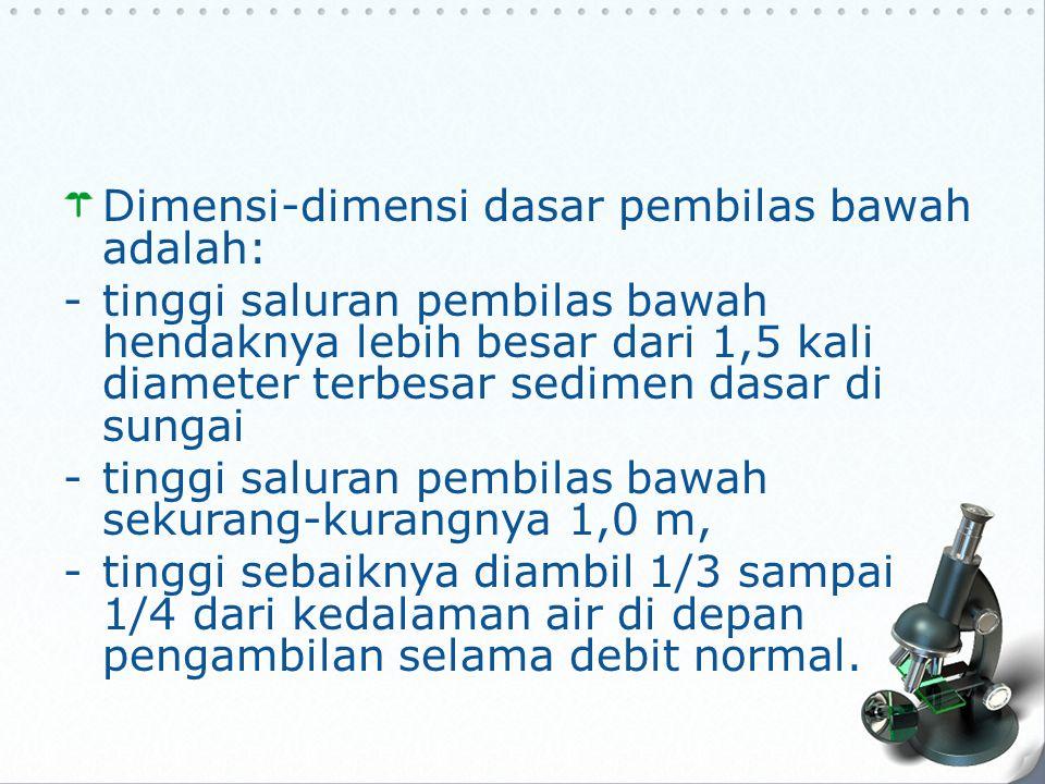 Dimensi-dimensi dasar pembilas bawah adalah: