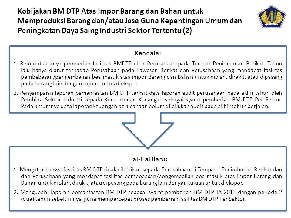 Kebijakan BM DTP Atas Impor Barang dan Bahan untuk Memproduksi Barang dan/atau Jasa Guna Kepentingan Umum dan Peningkatan Daya Saing Industri Sektor Tertentu (2)