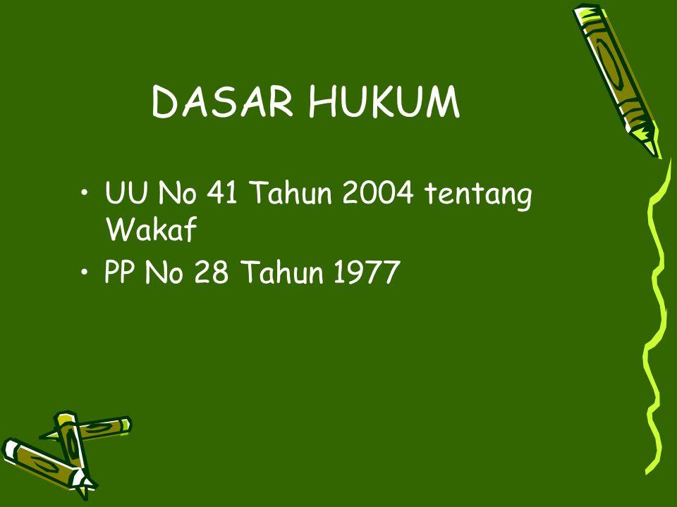 DASAR HUKUM UU No 41 Tahun 2004 tentang Wakaf PP No 28 Tahun 1977