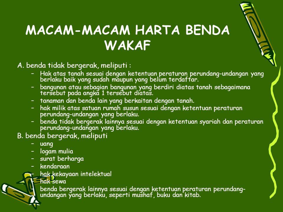 MACAM-MACAM HARTA BENDA WAKAF