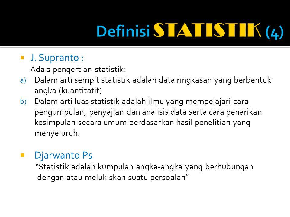 Definisi STATISTIK (4) J. Supranto : Djarwanto Ps