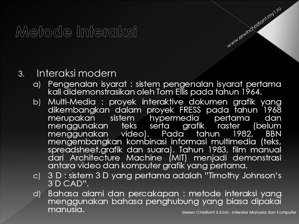Metode Interaksi Interaksi modern