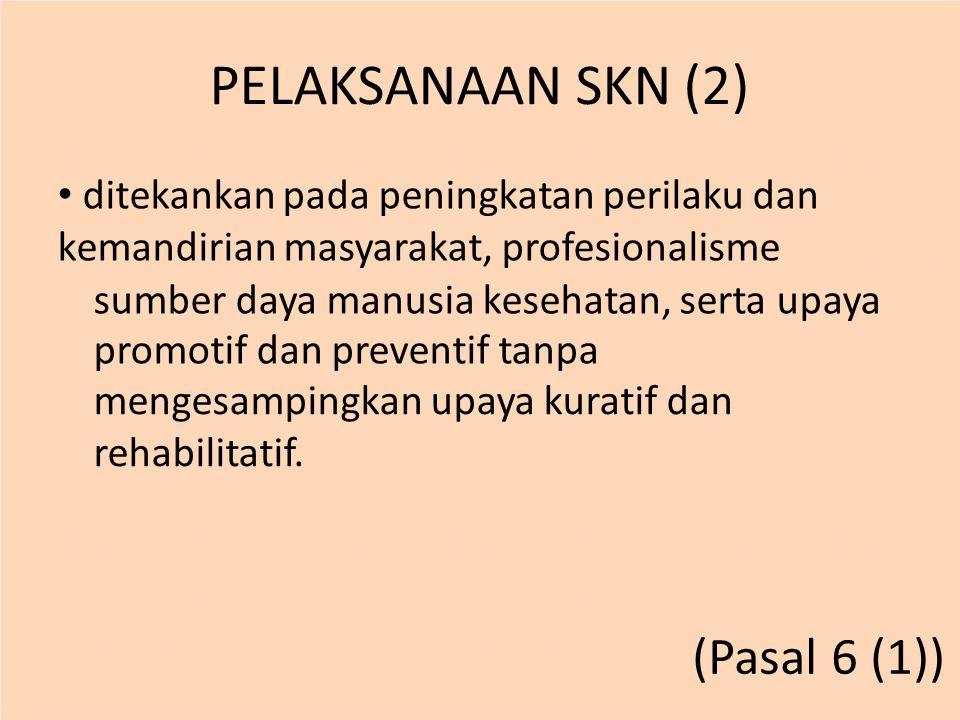 PELAKSANAAN SKN (2) (Pasal 6 (1))