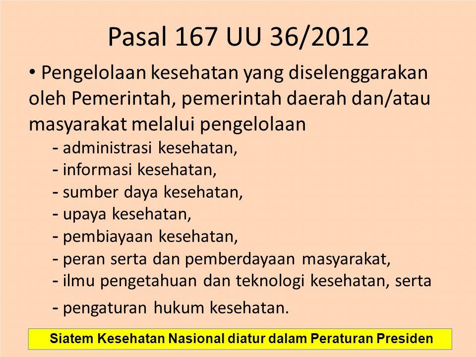 Pasal 167 UU 36/2012 • Pengelolaan kesehatan yang diselenggarakan oleh Pemerintah, pemerintah daerah dan/atau masyarakat melalui pengelolaan.