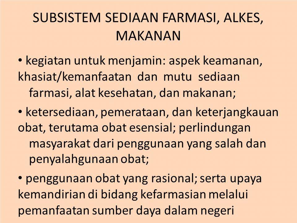 SUBSISTEM SEDIAAN FARMASI, ALKES, MAKANAN