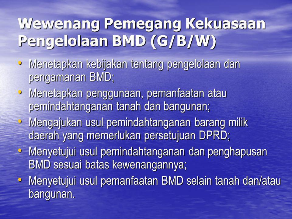 Wewenang Pemegang Kekuasaan Pengelolaan BMD (G/B/W)