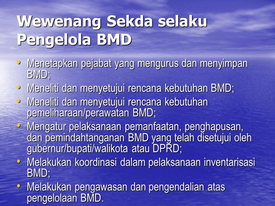 Wewenang Sekda selaku Pengelola BMD