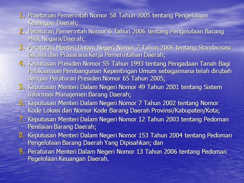 Praetorian Pemerintah Nomor 58 Tahun 2005 tentang Pengelolaan Keuangan Daerah;