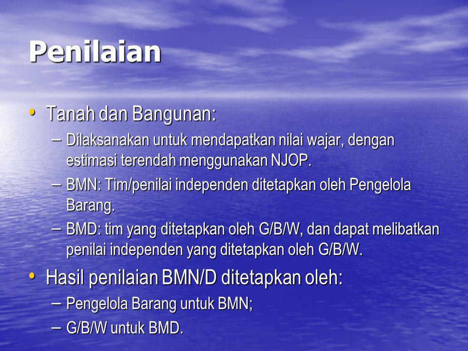 Penilaian Tanah dan Bangunan: Hasil penilaian BMN/D ditetapkan oleh: