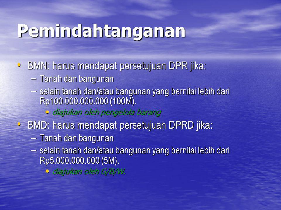 Pemindahtanganan BMN: harus mendapat persetujuan DPR jika: