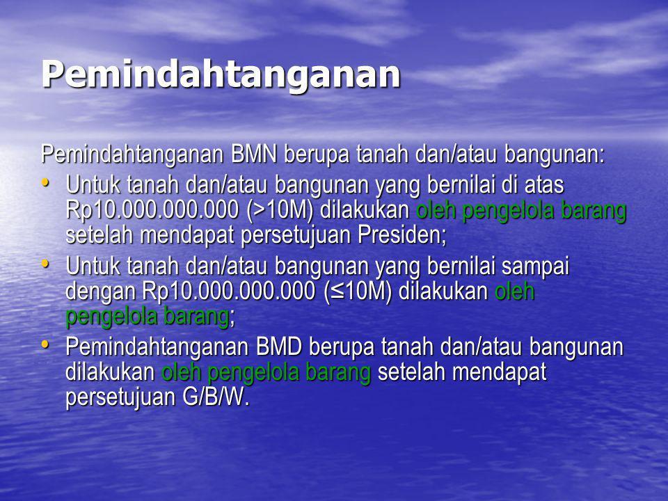 Pemindahtanganan Pemindahtanganan BMN berupa tanah dan/atau bangunan: