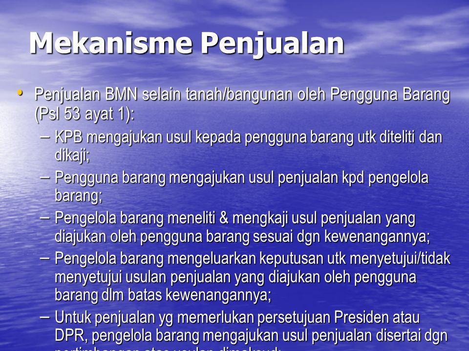 Mekanisme Penjualan Penjualan BMN selain tanah/bangunan oleh Pengguna Barang (Psl 53 ayat 1):
