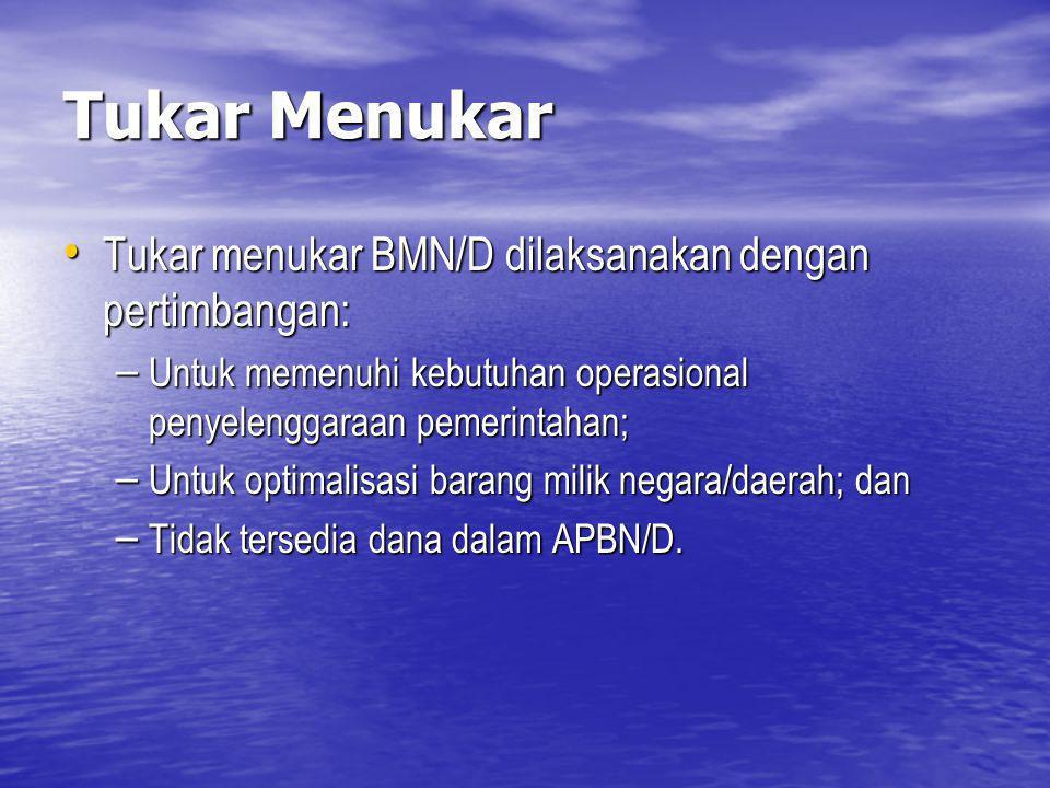 Tukar Menukar Tukar menukar BMN/D dilaksanakan dengan pertimbangan: