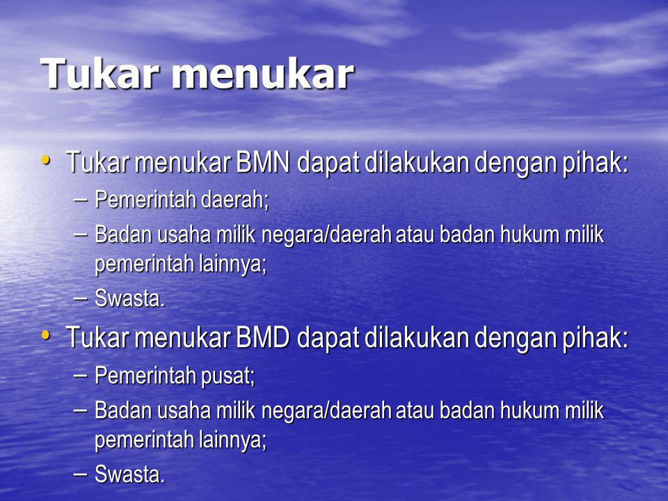Tukar menukar Tukar menukar BMN dapat dilakukan dengan pihak: