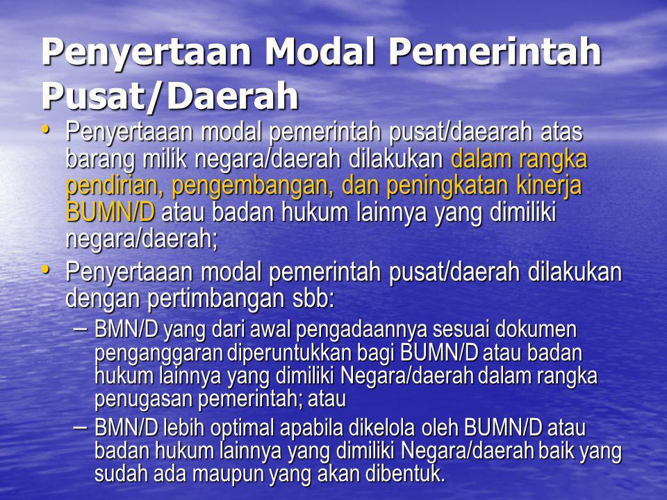 Penyertaan Modal Pemerintah Pusat/Daerah