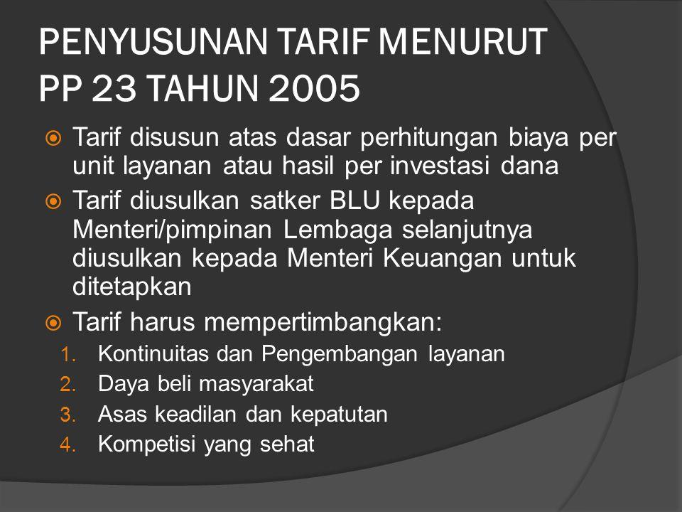 PENYUSUNAN TARIF MENURUT PP 23 TAHUN 2005